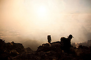 Climbers at sunrise on Mount Merapi in Central Java, Indonesia, Southeast Asia