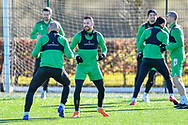 Martin Boyle (#10) of Hibernian FC (centre) during the training session for Hibernian FC at the Hibs Training Centre, Ormiston, Scotland on 26 February 2021, ahead of the SPFL Premiership match against Motherwell.