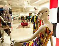 Mannequin in a window of empty store, no brand names or copyright objects.