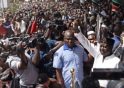 Jan. 30, 2018 -  Nairobi, Kenya - National Super Alliance (NASA) leader RAILA ODINGA (R) gestures to his supporters at Uhuru Park. Kenya's main opposition party, National Super Alliance (NASA), on Tuesday 'swore in' its leader Raila Odinga as 'People's President' amid jubilation from thousands of supporters who witnessed the ceremony at a public park in the capital of Nairobi. (Credit Image: © Chen Cheng/Xinhua via ZUMA Wire)