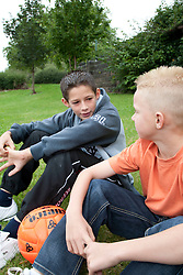 Portrait of white boys with football