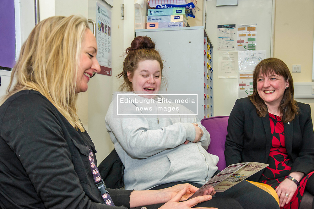 Pictured: Family Nurse Kim Brandie, Stacy McGuire and the Minister discussed the contents of the baby box<br /> Childcare and early years minister Maree Todd MSP confirmed the total number of boxes  durimg a visit to The Space Unit in Edinburgh today.  Ms Todd also announced that family nurses can now register mothers to receive their box. At close of play on Tuesday 6 March a total of 30,068 boxes will have been delivered.<br /> <br /> <br /> Ger Harley   EEm Date