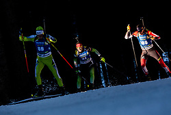 Raul Antonio Flore (ROU), Jakov Fak (SLO) and Tobias Eberhard (AUT) in action during the Men 10km Sprint at day 6 of IBU Biathlon World Cup 2018/19 Pokljuka, on December 7, 2018 in Rudno polje, Pokljuka, Pokljuka, Slovenia. Photo by Vid Ponikvar / Sportida