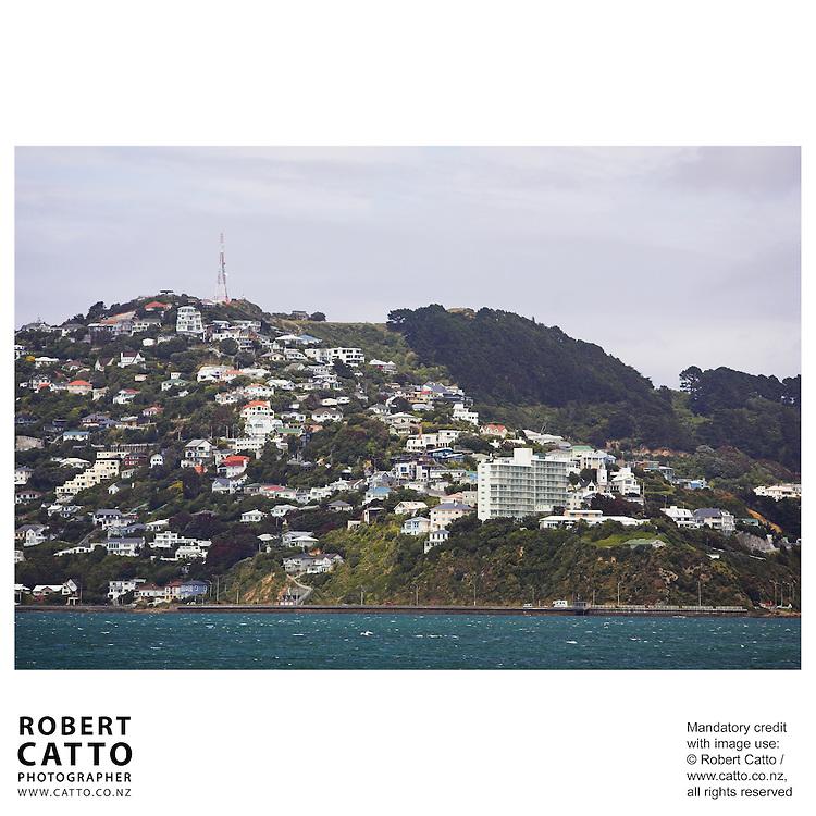 Roseneath and Mount Victoria seen from Lambton Harbour, Wellington, New Zealand.<br />