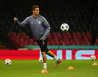 Cristiano Ronaldo of Real Madrid<br /> <br /> Photographer Kevin Barnes/CameraSport<br /> <br /> UEFA Champions League Final - Training session - Juventus v Real Madrid - Friday 2nd June 2017 - Principality Stadium - Cardiff<br />  <br /> World Copyright © 2017 CameraSport. All rights reserved. 43 Linden Ave. Countesthorpe. Leicester. England. LE8 5PG - Tel: +44 (0) 116 277 4147 - admin@camerasport.com - www.camerasport.com