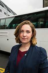 Pictured: Sarah Beattie-Smith<br /> <br /> Scottish Green Party co-convener Patrick Harvie and Scottish Greens infrastructure and transport spokeswoman Sarah Beattie-Smith met bus travellers at a busy intersection in Edinburgh as part of the party's Better Bus campaign <br /> Ger Harley | EEm 5 April 2016