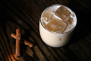 A Scottish Breakfast cocktail sits on the bar at Rickhouse lounge in San Francisco's Financial District, Tuesday, November 10, 2009. A Scottish Breakfast is a cocktail of apple brandy, scotch, maple syrup, cream and topped with cinnamon.