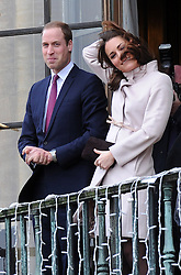 The Duke and Dutchess of Cambridge arrive in Cambridge for their first official engagement to the city. They are pictured on the balcony of the Cambridge Guildhall. November 28, 2012. Photo by Matthew Power / i-Images.