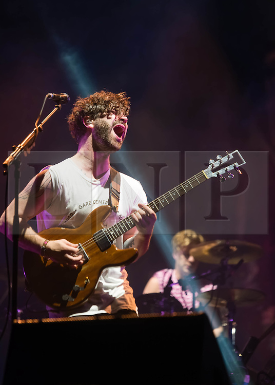 © Licensed to London News Pictures. 01/06/2014. Barcelona, Spain.   Foals performing live at Primavera Sound festival Day 4.   In this picture Yannis Philippakis.  Foals are an English indie rock band  consisting of members Yannis Philippakis (lead vocals, lead guitar), Jack Bevan (drums, percussion), Jimmy Smith (rhythm guitar rhodes, synthesizer, backing vocals), Walter Gervers (bass, sampler, percussion, backing vocals),Edwin Congreave (keyboards, synthesizer).  Primavera Sound, or simply Primavera, is an annual music festival that takes place in Barcelona, Spain in late May/June within the Parc del Fòrum leisure site. Photo credit : Richard Isaac/LNP