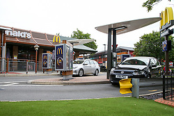 © Licensed to London News Pictures. 04/06/2020. London, UK. Cars arrive at McDonald's Drive Thru in north London. McDonald's Drive Thru opens in Haringey after lockdown restrictions are relaxed. Photo credit: Dinendra Haria/LNP