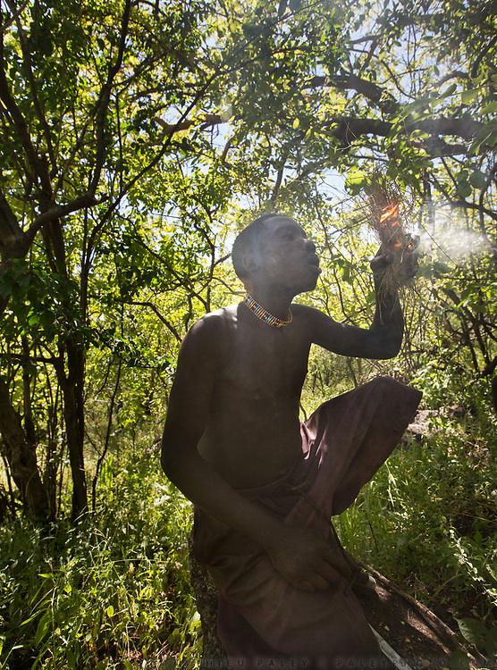 A Hadza man is making a fire to smoke a beehive and collect honey.