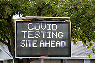 Roadside COVID signage at Daw Park. New COVID Lockdown Restrictions announced today by the SA Premier Steven Marshall caused panic shopping at supermarkets as people stocked up with essential groceries.   (Photo by Peter Mundy/Speed Media)