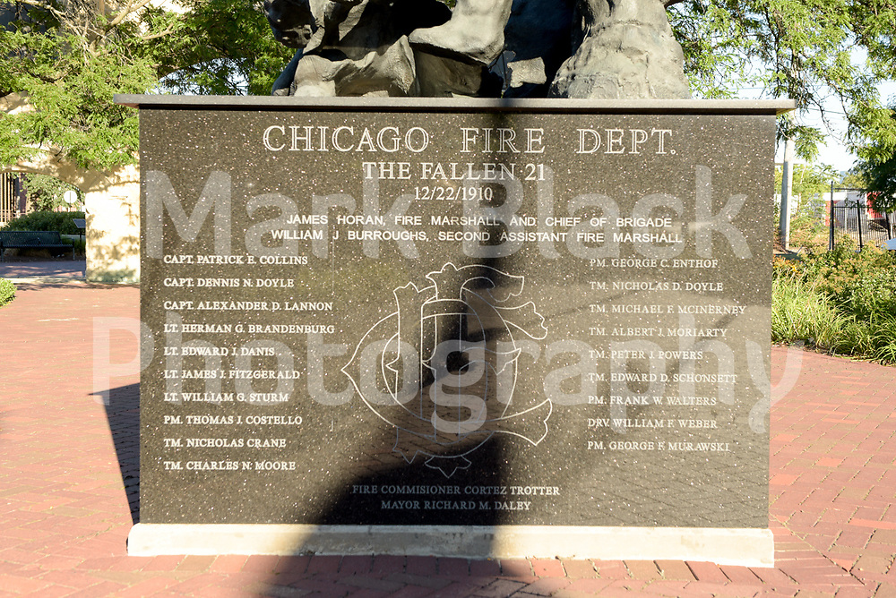 Chicago Fire Department Fallen 21 Memorial next to the Union Stockyard Gate on Wednesday, Aug. 19, 2020.  Photo by Mark Black