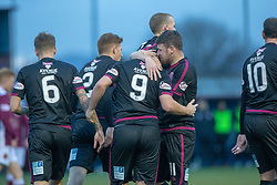 Arbroath's Ryan Wallace (9) celebrates after scoring their second goal. Stenhousemuir 1 v 4 Arbroath, Scottish Football League Division One play12/1/2019 at Ochilview Park.