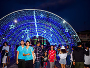 "23 DECEMBER 2018 - CHANTABURI, THAILAND: The tunnel of stars at the Cathedral of the Immaculate Conception's Christmas Fair in Chantaburi. Cathedral of the Immaculate Conception is holding its annual Christmas festival, this year called ""Sweet Christmas @ Chantaburi 2018"". The Cathedral is the largest Catholic church in Thailand and was founded more than 300 years ago by Vietnamese Catholics who settled in Thailand, then Siam.   PHOTO BY JACK KURTZ"