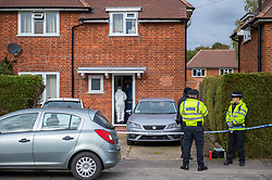 © Licensed to London News Pictures. 29/10/2019. Beaconsfield, UK. A forensic investigator enters a property in Hyde Green, Beaconsfield. Thames Valley Police have launched an investigation after the death of a woman. A 44-year-old man from Beaconsfield has been arrested on suspicion of murder. Photo credit: Peter Manning/LNP