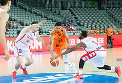 Arvin Slagter of Netherlands between Duda Sanadze of Georgia and Jacob Pullen of Georgia during basketball match between Georgia and Netherlands at Day 1 in Group C of FIBA Europe Eurobasket 2015, on September 5, 2015, in Arena Zagreb, Croatia. Photo by Vid Ponikvar / Sportida