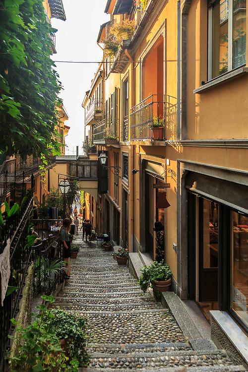 An alley in Bellagio on Lago di Como, Italy.