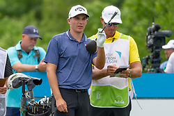 May 9, 2019 - Dallas, TX, U.S. - DALLAS, TX - MAY 09: Aaron Wise lines up his tee shot on #9 during the first round of the AT&T Byron Nelson on May 9, 2019 at Trinity Forest Golf Club in Dallas, TX. (Photo by Andrew Dieb/Icon Sportswire) (Credit Image: © Andrew Dieb/Icon SMI via ZUMA Press)