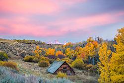 Autumn sunset in Teton Valley Idaho as the sun sets over the Grand Tetons.