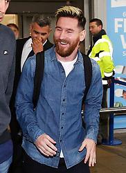 Lionel Messi of FC Barcelona arrives at Manchester Airport - Mandatory by-line: Matt McNulty/JMP - 31/10/2016 - FOOTBALL - Manchester Airport - Manchester, England - Manchester City v Barcelona - UEFA Champions League - Group C