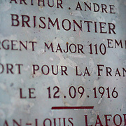 Wall engravings at the Chapel of Remembrance (Chapelle des Souvenirs ) in Rancourt, Picardy build by the dy Bos family as a commemoration to their son Jean and his comrades who were killed there in September 1916. The National Cemetery of Rancourt is the largest French cemetery in Somme with 8566 graves.