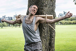 Michael Mears recreates a crucifixion that would have been the punishment for conscientious objectors during WW1. His show This Evil Thing is part of the Edinburgh Fringe Festival