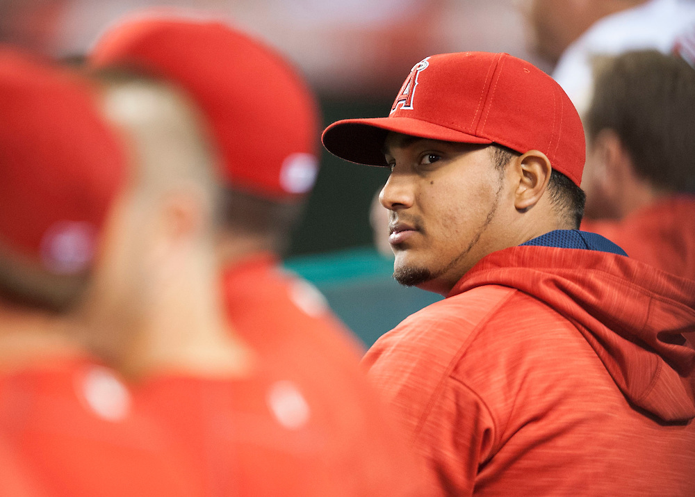 New Angels starting pitcher Jhoulys Chacin watches from the dugout during their game against the St. Louis Cardinals Thursday at Angel Stadium.<br /> <br /> ///ADDITIONAL INFO:   <br /> <br /> angels.0405.kjs  ---  Photo by KEVIN SULLIVAN / Orange County Register  -- 5/12/16<br /> <br /> The Los Angeles Angels take on the St. Louis Cardinals Thursday at Angel Stadium.