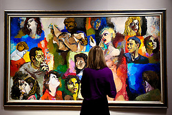 © Licensed to London News Pictures. 25/02/2019. London, UK. A woman views Mosaica dii Figure by Renato Gattuso (1912-1987). Painted in 1958. Estimate £60,000-80,000.<br /> Bonhams Impressionist and Modern Art Sale will take place in London on 28 February 2019. Photo credit: Dinendra Haria/LNP