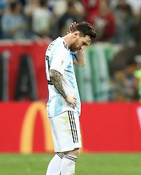 NIZHNY NOVGOROD, June 21, 2018  Lionel Messi of Argentina reacts after the 2018 FIFA World Cup Group D match between Argentina and Croatia in Nizhny Novgorod, Russia, June 21, 2018. Croatia won 3-0. (Credit Image: © Yang Lei/Xinhua via ZUMA Wire)