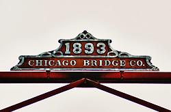 The 1893 Chicago Bridge Company sign above the Coffee Street Bridge in Lanesboro Minnesota