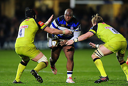Beno Obano of Bath Rugby takes on the Leicester Tigers defence - Mandatory byline: Patrick Khachfe/JMP - 07966 386802 - 04/11/2016 - RUGBY UNION - The Recreation Ground - Bath, England - Bath Rugby v Leicester Tigers - Anglo-Welsh Cup.