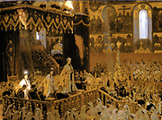 painting by Tuxen of the coronation of Tsar Nicholas II and the Empress Alexandra