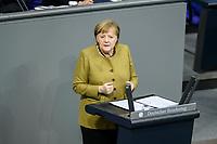 11 FEB 2021, BERLIN/GERMANY:<br /> Angela Merkel, CDU, Bundeskanzlerin, waehrend ihrer  Regierungserklaerung zur Bewaeltigung der Corvid-19-Pandemie, Plenum, Reichstagsgebaeude, Deutscher Bundestag<br /> IMAGE: 20210211-01-043<br /> KEYWORDS: Corona