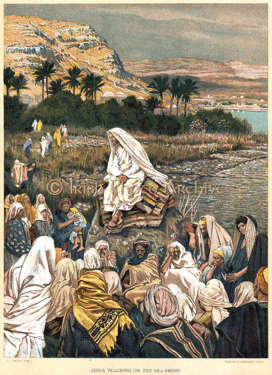 Jesus teaching on the sea shore. Bible, New Testament, St Matthew Ch 12. From J.J. Tissot 'The Life of our Saviour Jesus Christ'' c1890. Oleograph.