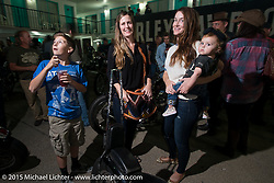 Jasmine Beckstrand and family at the Harley-Davidson sponsored Friday evening party in the hotel parking lot before the Race of Gentlemen. Wildwood, NJ, USA. October 9, 2015.  Photography ©2015 Michael Lichter.