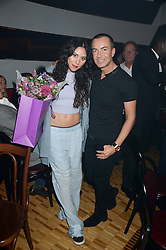 ELIZA DOOLITTLE and JULIEN MacDONALD at a private performance by Frances Ruffelle entitled 'Paris Original' at The Crazy Coqs, Brasserie Zedel, 20 Sherwood Street, London on 8th October 2013.