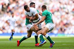 Jonny May of England is tackled by Jordan Larmour and Rob Kearney of Ireland - Rogan/JMP - 24/08/2019 - RUGBY UNION - Twickenham Stadium - London, England - England v Ireland - Quilter Series.