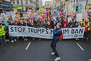 A march against racism and to ban the ban (against immigration from certain countries to the USA) is organised by Stand Up To Racism and supported by Stop the War and several unions. It stated with a rally at the US Embassy in grosvenor Square and ended up in Whitehall outside Downing Street. Thousands of people of all races and ages attended.