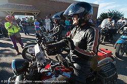 Cris Sommer Simmons arrives at the finish on her 1934 Harley-Davidson VD during Stage 10 (278 miles) of the Motorcycle Cannonball Cross-Country Endurance Run, which on this day ran from Golden to Grand Junction, CO., USA. Monday, September 15, 2014.  Photography ©2014 Michael Lichter.