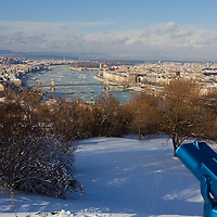 Winter view of the city from a hill in Budapest, Hungary on February 15, 2012. ATTILA VOLGYI