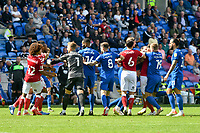 Football - 2021 / 2022 EFL Sky Bet Championship - Cardiff City vs Bristol City - Cardiff City Stadium - Saturday 28th August 2021<br /> <br /> TEMPERS FLARE AS THE TEAMS JOSTLE AFTER BRISTOL TAKE THE LEAD<br /> <br /> COLORSPORT/WINSTON BYNORTH