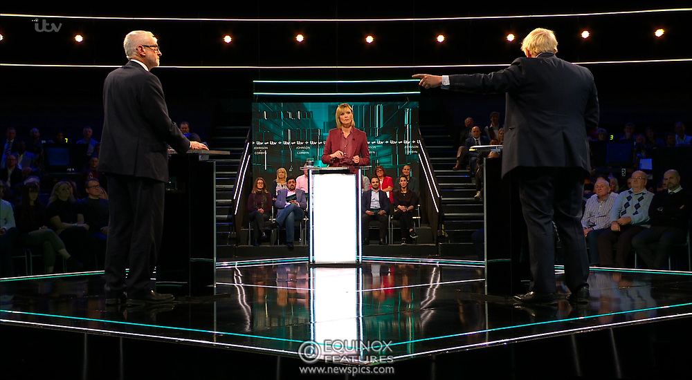 Broadcast TV, United Kingdom - 19 November 2019<br /> Labour leader Jeremy Corbyn and Prime Minister Boris Johnson debate live on ITV tonight as part of the 2019 general election campaign.<br /> (supplied by: Supplied by: EQUINOXFEATURES.COM)<br /> Picture Data:<br /> Contact: Equinox Features<br /> Date Taken: 20191119<br /> Time Taken: 201804<br /> www.newspics.com