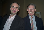 WILLIAM CASH AND HIS FATHER M.P. BILL CASH, Adam Dant: The Art of Hedge. Robilant and Voena Gallery. Dover st. London. 12 November 2007. -DO NOT ARCHIVE-© Copyright Photograph by Dafydd Jones. 248 Clapham Rd. London SW9 0PZ. Tel 0207 820 0771. www.dafjones.com.