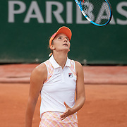 PARIS, FRANCE September 30. Irina-Camelia Begu of Romania reacts during her match against Simona Halep of Romania in the second round of the singles competition on Court Suzanne Lenglen during the French Open Tennis Tournament at Roland Garros on September 30th 2020 in Paris, France. (Photo by Tim Clayton/Corbis via Getty Images)