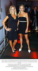 Left to right, twins KATHERYN FROST and BRYONY FROST they are the leading British athletics steeplechasers, at a party in London on 9th September 2003.PMG 95