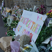 Floral tributes to Finsbury Park Mosque attack scene and surround by media at Seven Sister road on 19th June 2017 in London, UK