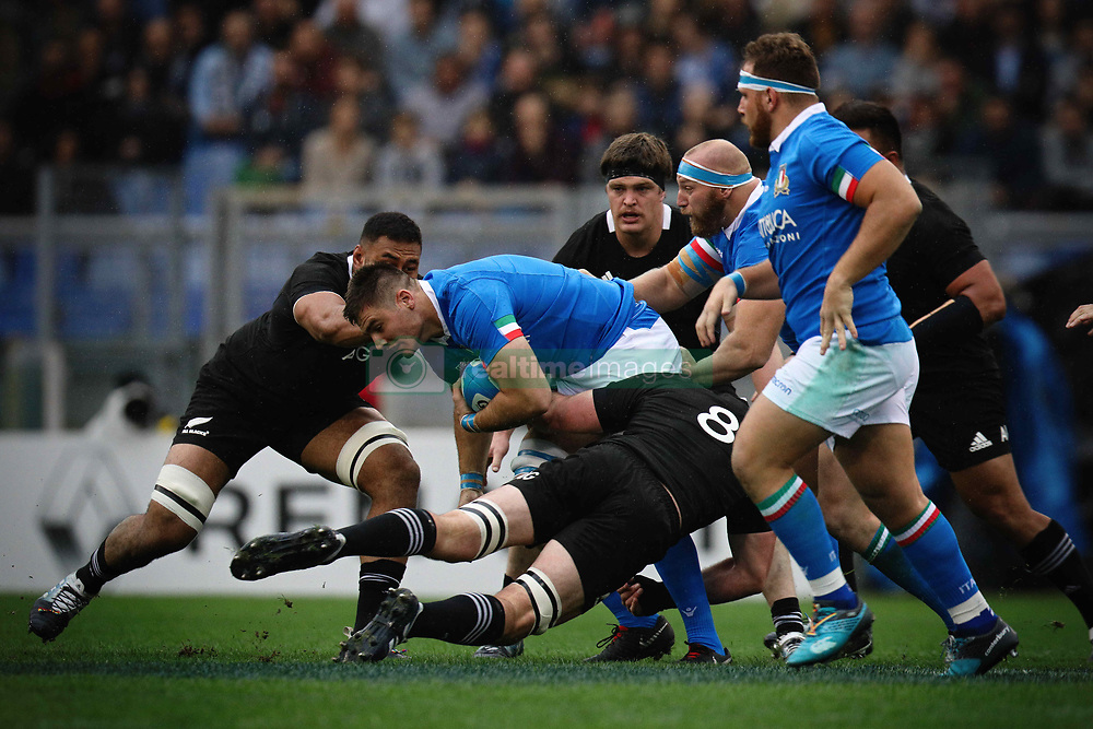 November 24, 2018 - Roma, RM, Italy - Battle for the ball during the Cattolica Test Match 2018 between Italy and All Blacks at Olympic Stadium on November 24, 2018 in Rome, Italy. (Credit Image: © Danilo Di Giovanni/NurPhoto via ZUMA Press)