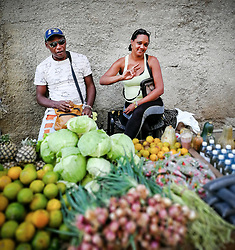 Old Havana, Cuba. Havana vieja, street. Fruit, vegetables, fresh organic food.
