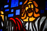Stained glass depicting Jesus Christ at ascension (Acts 1:9), seen on Saturday, April 17, 2021, at Iglesia Luterana Cristo El Salvador, Del Rio, Texas. LCMS Communications/Erik M. Lunsford